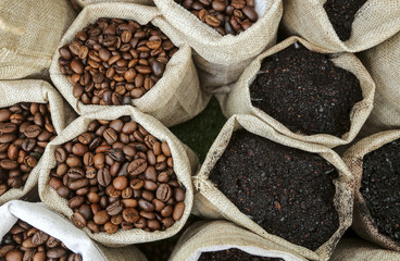 Roasted coffee beans and grinded coffee