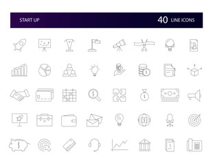 Line icons set. Start Up pack. Vector illustration.