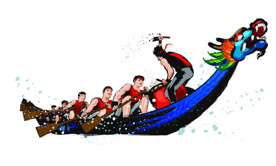 Vector of dragon boat racing during Chinese dragon boat festival. Ink splash effect makes it looks more powerful, full energy and spirit!
