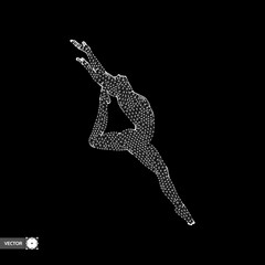 Gymnast. Man. 3D human body model. Gymnastics activities for icon health and fitness community. Vector illustration.