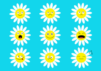 White daisy chamomile icon emoji set set. Funny kawaii cartoon characters. Emotion collection. Happy, surprised, smiling, crying, sad angry face head. Camomile flower Flat design. Blue background