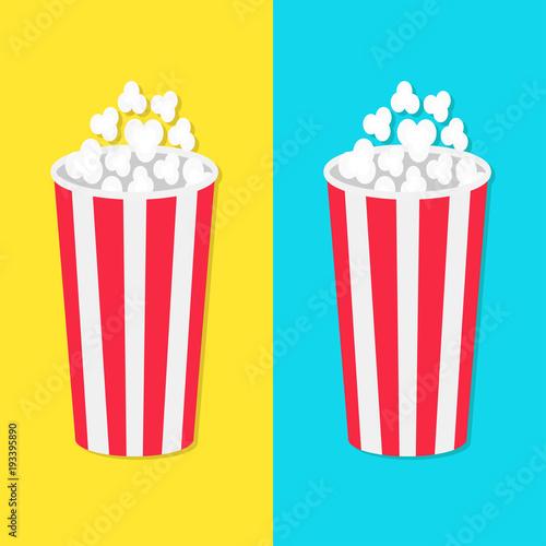popcorn round bucket box set movie cinema icon in flat design style