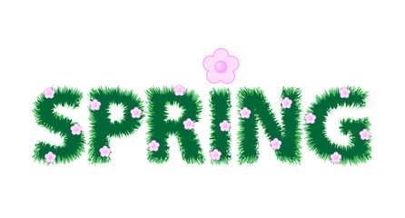 Inscription spring and pink flowers. Vector illustration