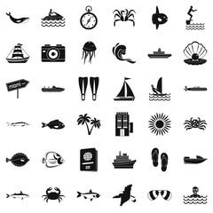 Ocean floor icons set, simple style