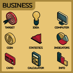 Business color outline isometric icons