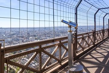 Eiffel Tower telescope overlooking for Paris