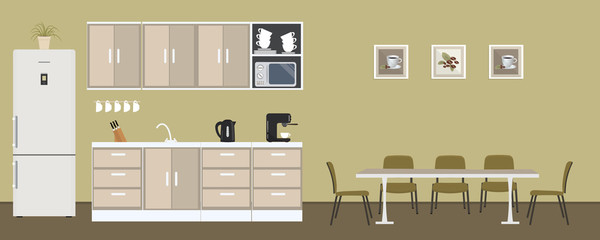 Office kitchen. Dining room in the office. There is a fridge, a table, chairs, a microwave, a kettle and a coffee machine in the image. There are also pictures with coffee on the wall. Vector