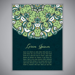 Greeting card, invitation or flyer template with ethnic mandala ornament. Hand drawn vector illustration