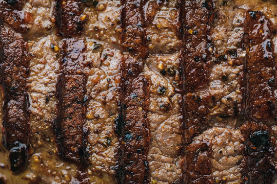 full frame of delicious spicy grilled steak