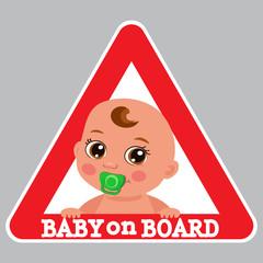 Baby Boy On Board Bumper Sticker Vector Illustration. Baby On Board Color Sign.