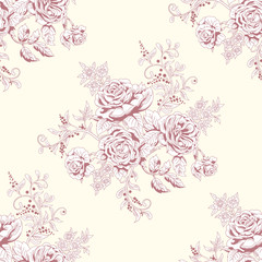 Vector seamless background in vintage style. Hand drawing of a bouquet victorian garden roses