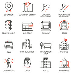 Vector set of thin linear 16 icons related to infrastructure, urban environment, city development and street transportations. Mono line pictograms and infographics design elements
