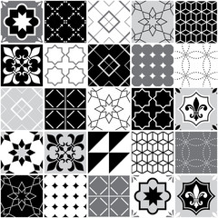 Portuguese tiles Azulejos, seamless vector tile pattern, geometric and floral design - black, white and grey patchwork