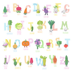 Cute cartoon live vegetables vector alphabet in nice colors.