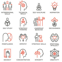 Vector set of linear icons related to skills, empowerment leadership development and qualities of a leader. Mono line pictograms and infographics design elements