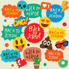 Back to school speech bubbles stickers, emoji smile faces