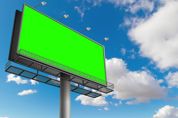 empty billboard with chroma key green screen, on blue sky with clouds, advertisement concept