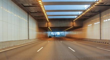 Illuminated car tunnel.