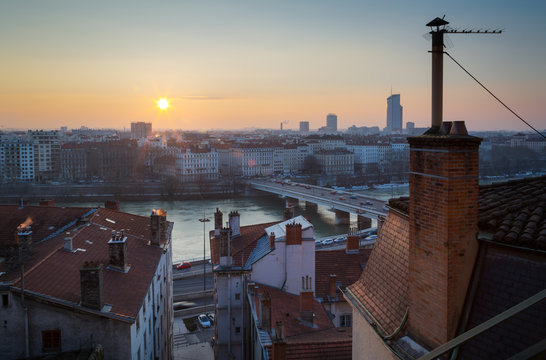Winter sunrise over the French city of Lyon.