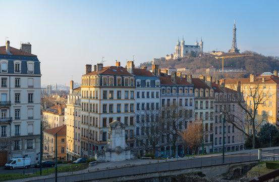Sunrise over Vieux Lyon and Cathedral Notre-Dame de Fourviere in the city of Lyon, France.