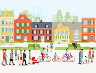 Stadtansicht mit Spaziergänger und Radfahrer