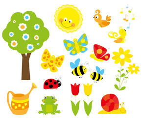set of cute cartoon nature objects: flowers, birds, flying butterflies, bee and smiling sun /collection of spring vectors for children