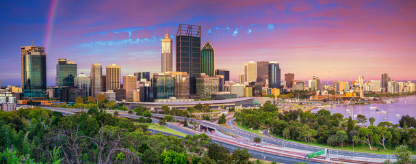 Perth. Panoramic cityscape image of Perth skyline, Australia during dramatic sunset.