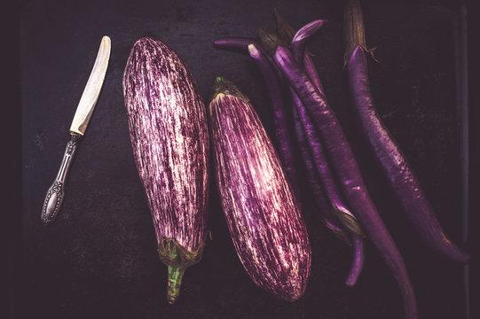 Italian purple striped eggplants