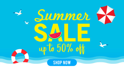 Summer sale banner vector illustration, Blue sky with summer beach elements.