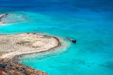 Wrak statku, widok z wyspy Gramvousa, Kreta, Grecja