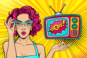 Wow female face. Sexy surprised young woman in glasses with open mouth and bright curly hair and Wow retro tv set. Vector colorful background in pop art retro comic style. Party invitation poster.