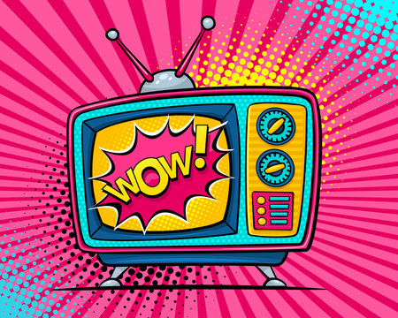 Hand drawn comic retro TV set with Woa speech bubble on screen on halftone, rays and dots. Vector colorful background in pop art retro comic style.