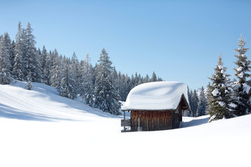 Fototapete - Amazing winter scene. A small alpine hut covered with a lot of snow