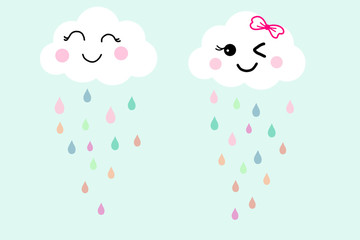 Pretty smile face white cloud on blue sky background and colorful raindrops. Concept about fresh and happy in raining day with friend. Hand drawn illustration technic wallpaper for clothes pattern.