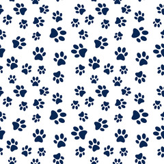 Animal footprint vector seamless pattern