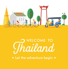 Flat design, Welcome to Thailand Banner, Vector Illustration