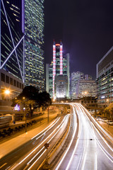 Traffic on Queensway Road at Admiralty, Chung Wan (central district), Hong Kong Island, China, Asia