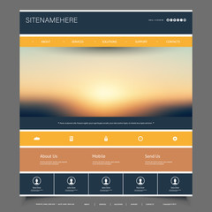 Website Design Template for Your Business with Sunset Sky Image Background - Dusk, Clouds, Sun, Sunlight