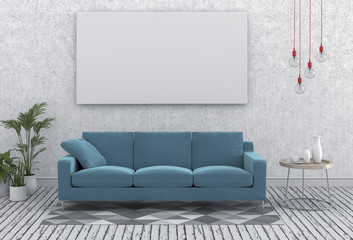mock up poster frames in hipster interior modern living room background, 3D render