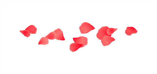 Red flying petals isolated on White background. Sakura Roses petals. Vector