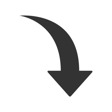 Down arrow icon. Flat vector illustration in black on white background.