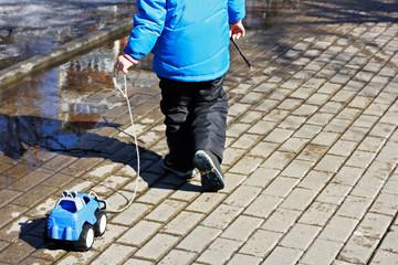 Walking on puddles.