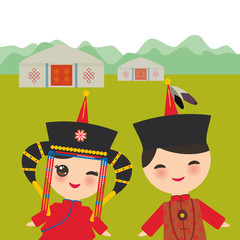 Mongolian boy and girl in red national costume and hat. Cartoon children in traditional dress. Landscape steppe, mountains, sky, home yurt. Vector