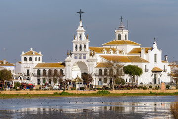 Famous Virgen del Rocio hermitage in picturesque El Rocio village, Huelva, Spain.