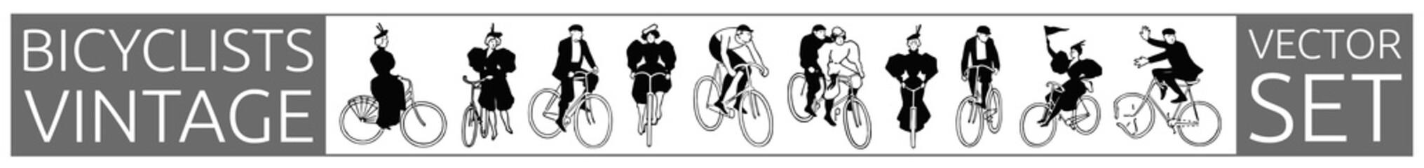 bicyclists vintage historic set #vector