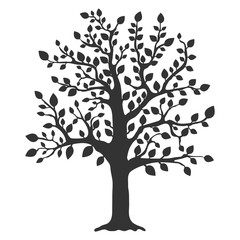 Tree icon. Flat vector illustration in black on white background.