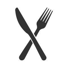 Knife with fork icon. Flat vector illustration in black on white background.