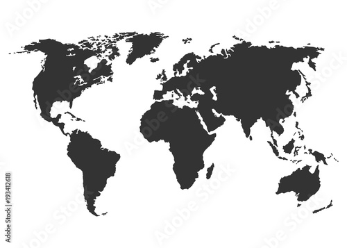 Bleck world map vector isolated on white background flat earth bleck world map vector isolated on white background flat earth template globe icon gumiabroncs Images