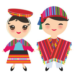 Peruvian boy and girl in national costume and hat. Cartoon children in traditional dress isolated on white background. Vector