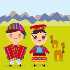 Peruvian boy and girl in national costume and hat. Cartoon children in traditional dress Landscape with mountains, green grass, llamas. Vector